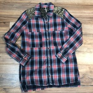Free People Sequin Plaid Oversized Tunic Shirt S